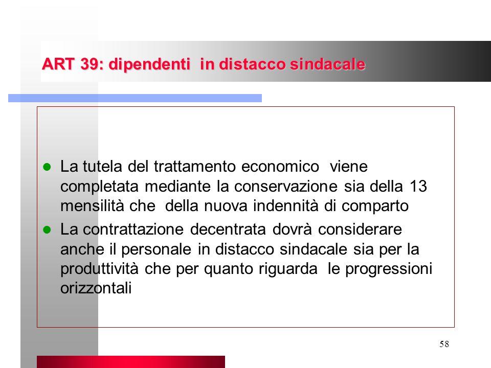 58 ART 39: dipendenti in distacco sindacale La tutela del trattamento economico viene completata mediante la conservazione sia della 13 mensilità che