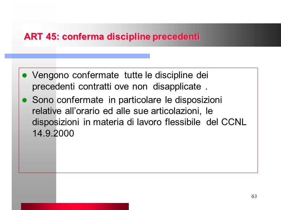 63 ART 45: conferma discipline precedenti Vengono confermate tutte le discipline dei precedenti contratti ove non disapplicate. Sono confermate in par