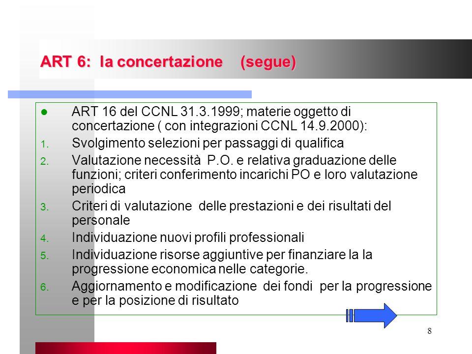 8 ART 6: la concertazione (segue) ART 16 del CCNL 31.3.1999; materie oggetto di concertazione ( con integrazioni CCNL 14.9.2000): 1. Svolgimento selez