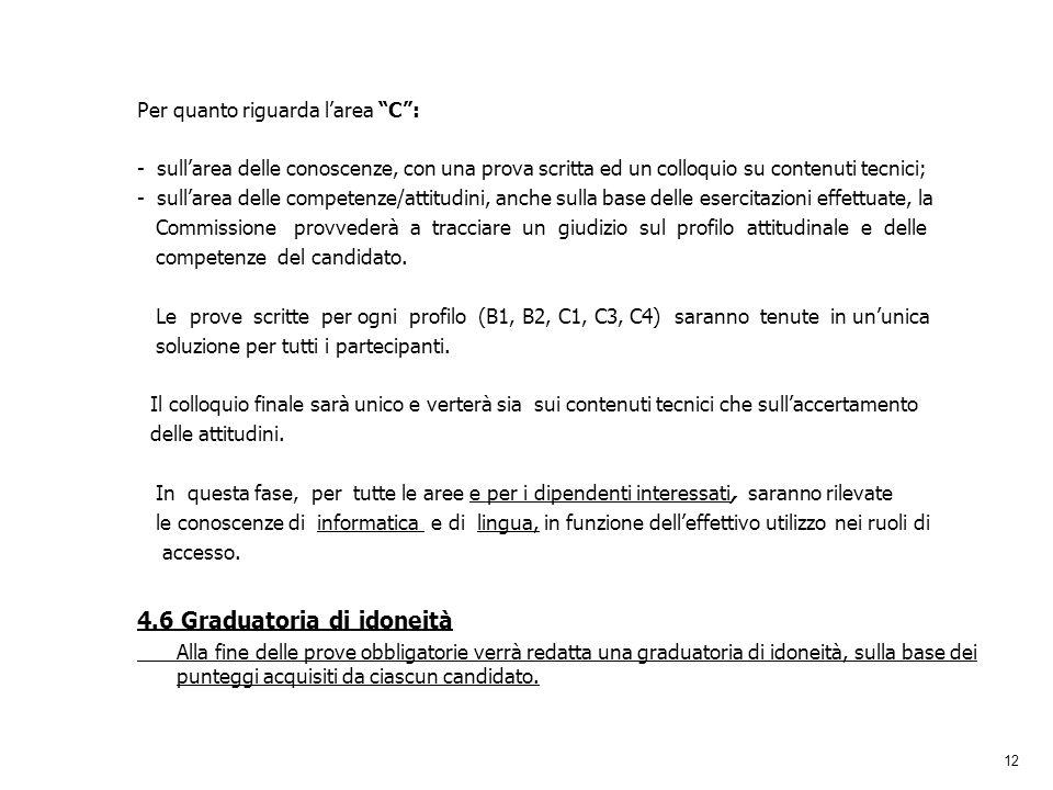 12 Per quanto riguarda larea C: - sullarea delle conoscenze, con una prova scritta ed un colloquio su contenuti tecnici; - sullarea delle competenze/a