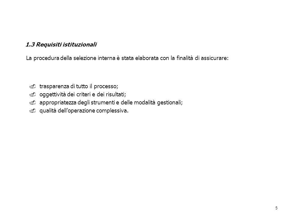 5 1.3 Requisiti istituzionali. trasparenza di tutto il processo;. oggettività dei criteri e dei risultati;. appropriatezza degli strumenti e delle mod