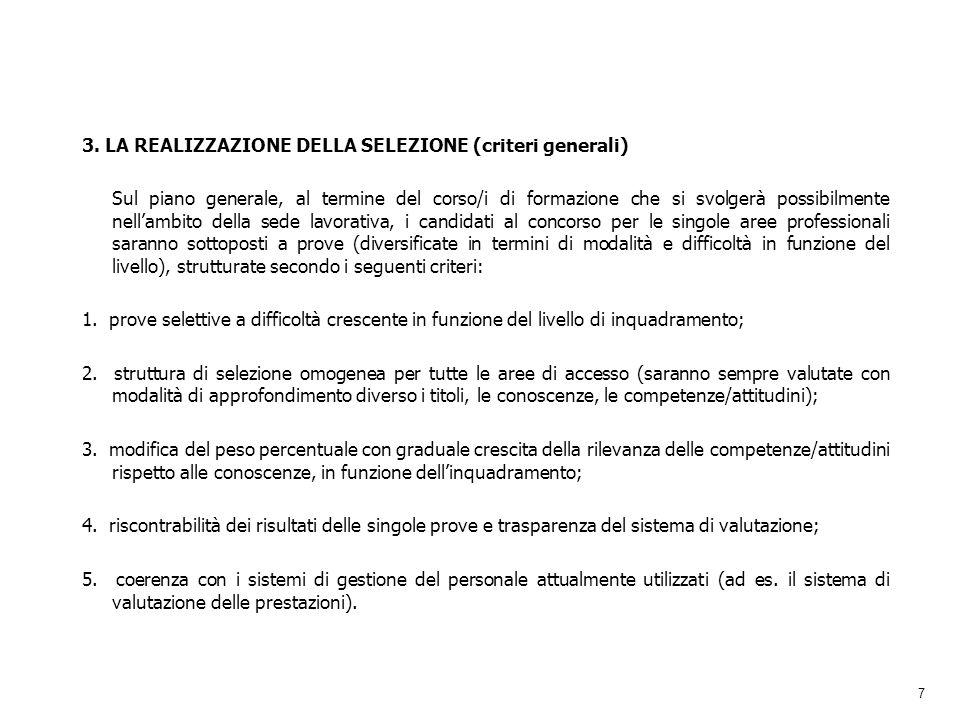 7 3. LA REALIZZAZIONE DELLA SELEZIONE (criteri generali) Sul piano generale, al termine del corso/i di formazione che si svolgerà possibilmente nellam