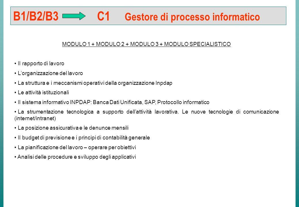 B1/B2/B3 C1 Gestore di processo MODULO 1 + MODULO 2 + MODULO 3 + MODULO SPECIALISTICO Il rapporto di lavoro Lorganizzazione del lavoro. La struttura e