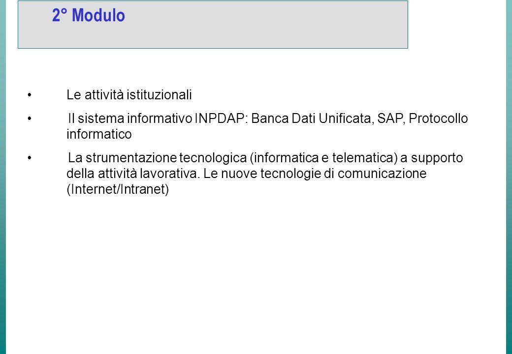 2° Modulo Le attività istituzionali Il sistema informativo INPDAP: Banca Dati Unificata, SAP, Protocollo informatico La strumentazione tecnologica (informatica e telematica) a supporto della attività lavorativa.