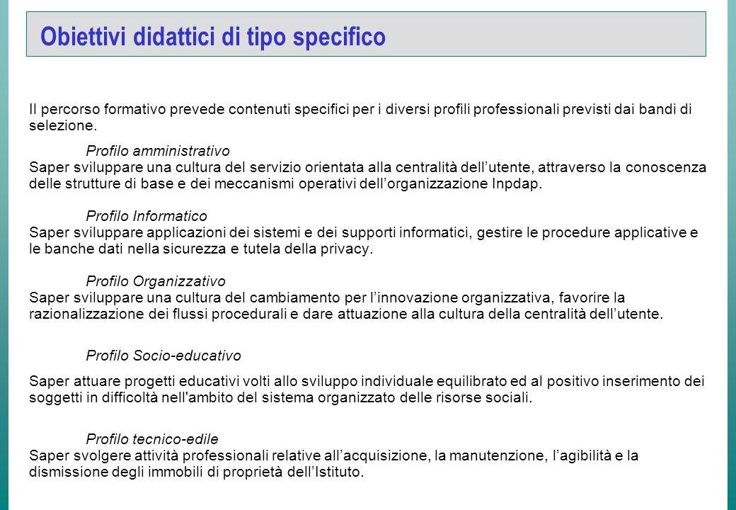 Obiettivi didattici di tipo generale LACQUISIZIONE DEI CONCETTI DI EFFICACIA, EFFICIENZA E QUALITA. ORGANIZZAZIONE DEL LAVORO LO SVILUPPO DI CAPACITA