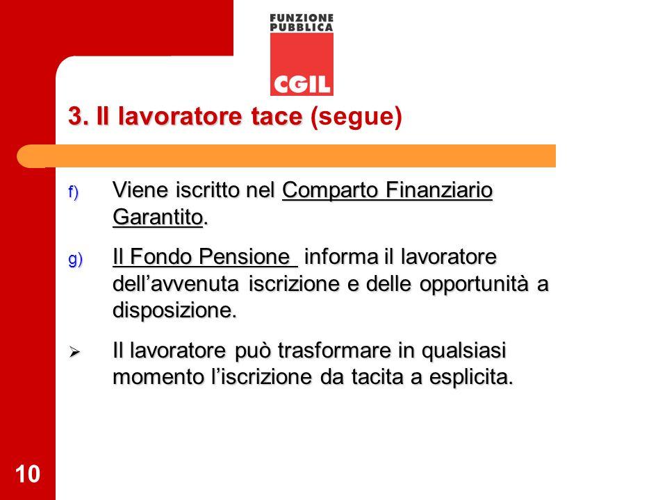 10 3. Il lavoratore tace 3. Il lavoratore tace (segue) f) Viene iscritto nel Comparto Finanziario Garantito. g) Il Fondo Pensione informa il lavorator