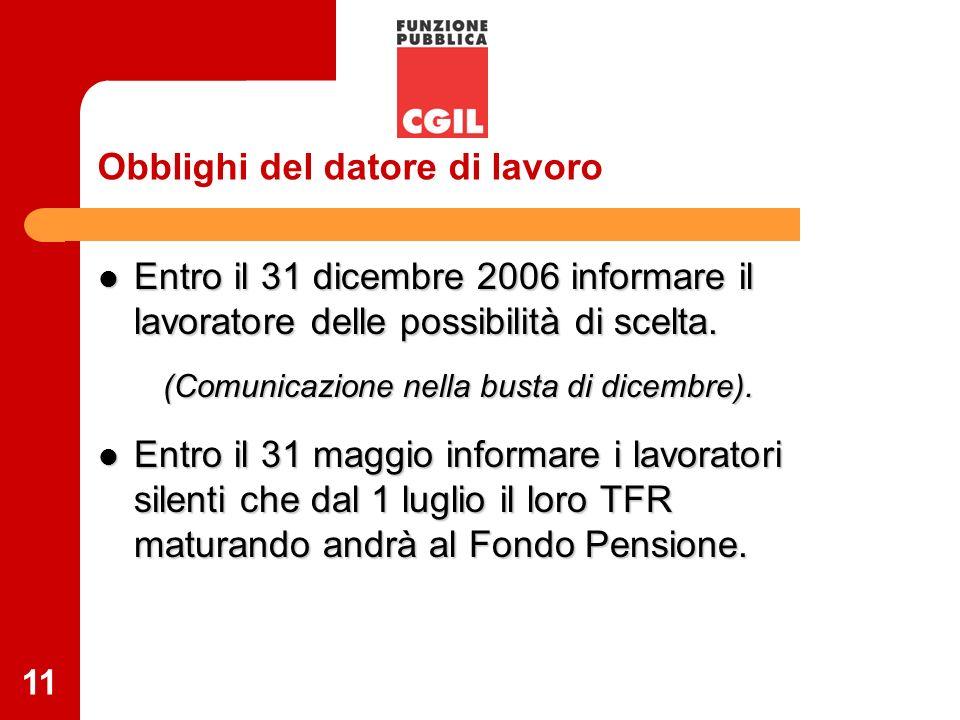 11 Obblighi del datore di lavoro Entro il 31 dicembre 2006 informare il lavoratore delle possibilità di scelta. Entro il 31 dicembre 2006 informare il