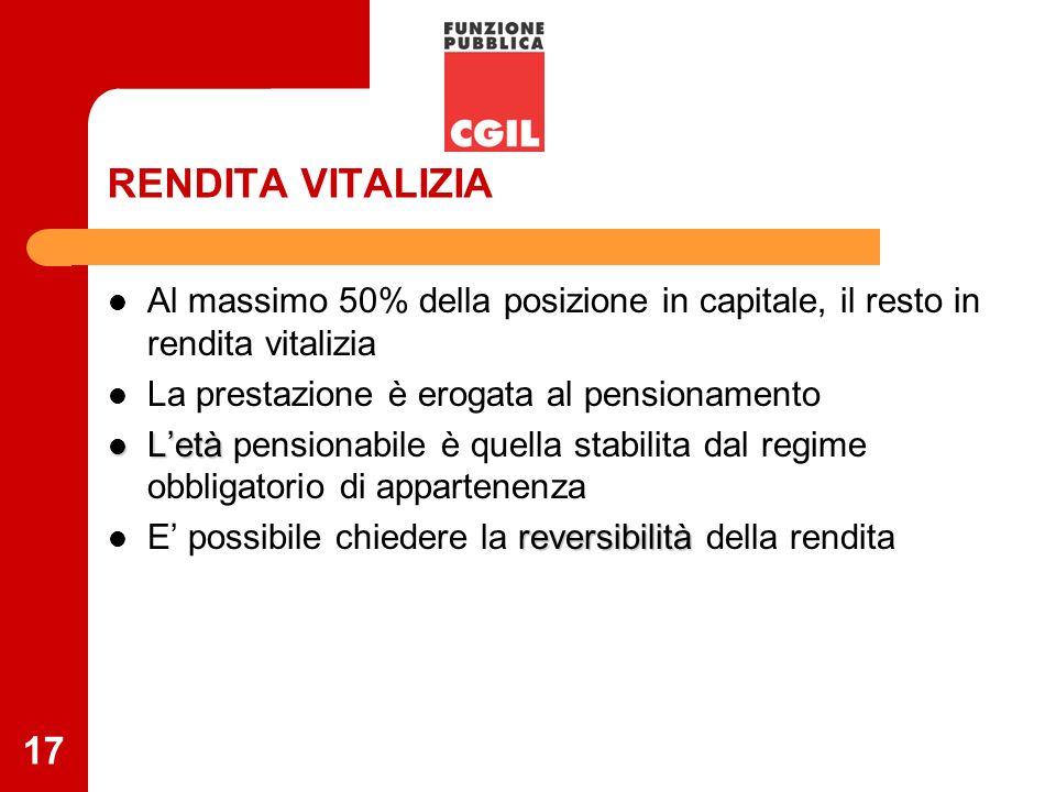 17 RENDITA VITALIZIA Al massimo 50% della posizione in capitale, il resto in rendita vitalizia La prestazione è erogata al pensionamento Letà Letà pen