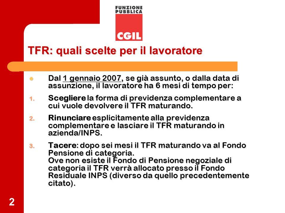 2 TFR: quali scelteper il lavoratore TFR: quali scelte per il lavoratore Dal 1 gennaio 2007, se già assunto, o dalla data di assunzione, il lavoratore