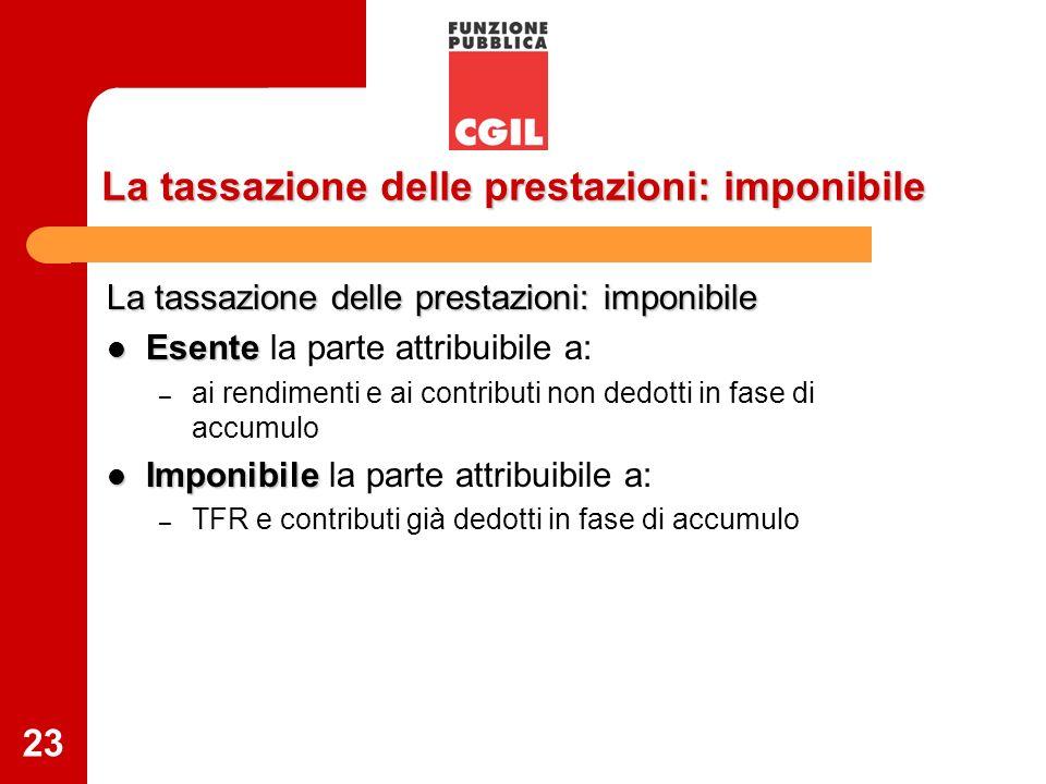 23 La tassazione delle prestazioni: imponibile Esente Esente la parte attribuibile a: – ai rendimenti e ai contributi non dedotti in fase di accumulo