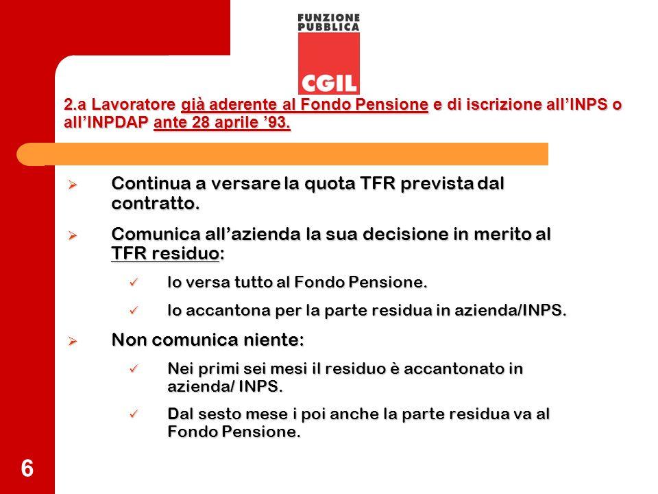 6 2.a Lavoratore già aderente al Fondo Pensione e di iscrizione allINPS o allINPDAP ante 28 aprile 93. Continua a versare la quota TFR prevista dal co