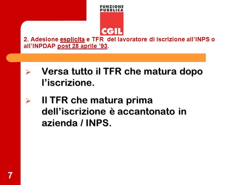 7 esplicita 2. Adesione esplicita e TFR del lavoratore di iscrizione allINPS o allINPDAP post 28 aprile 93. Versa tutto il TFR che matura dopo liscriz