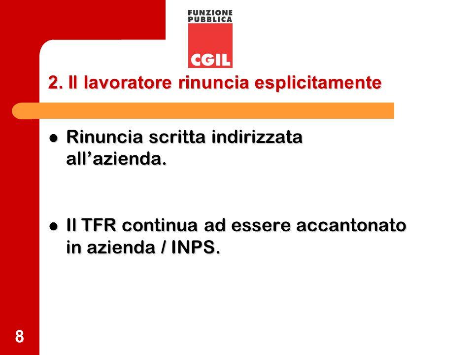9 3.Il lavoratore tace a) Il TFR dei primi sei mesi va azienda / INPS.