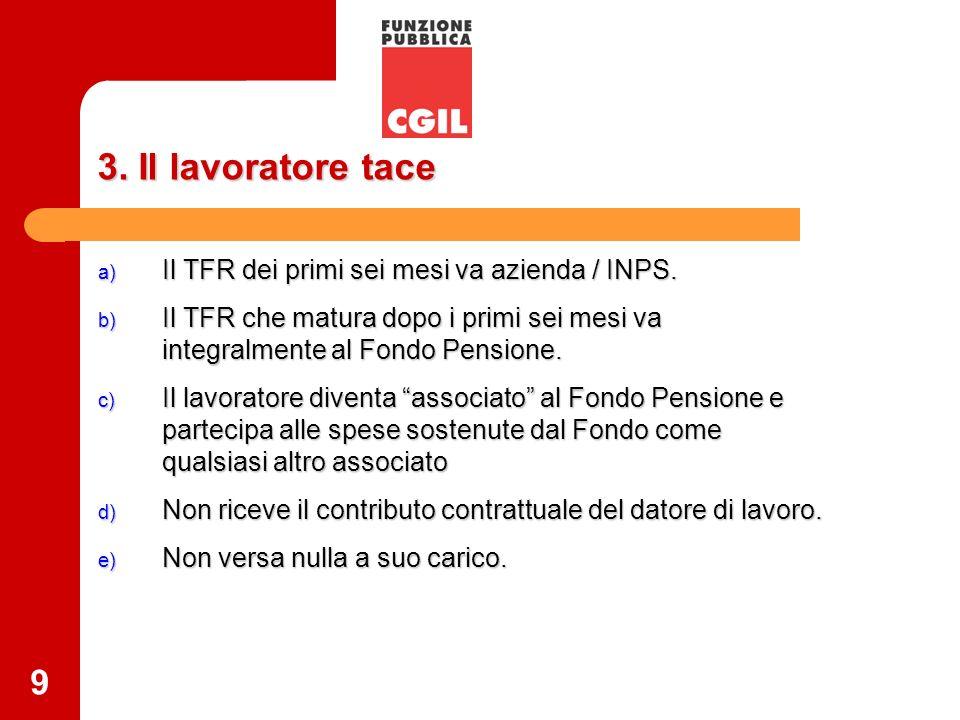 9 3. Il lavoratore tace a) Il TFR dei primi sei mesi va azienda / INPS. b) Il TFR che matura dopo i primi sei mesi va integralmente al Fondo Pensione.