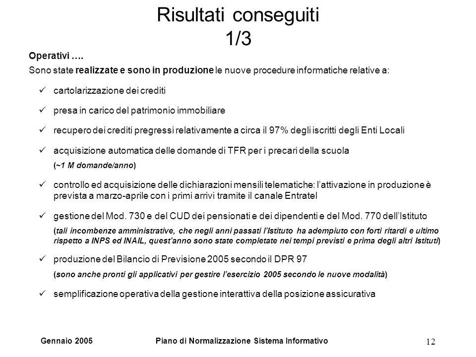 Gennaio 2005Piano di Normalizzazione Sistema Informativo 12 Risultati conseguiti 1/3 Operativi …. Sono state realizzate e sono in produzione le nuove