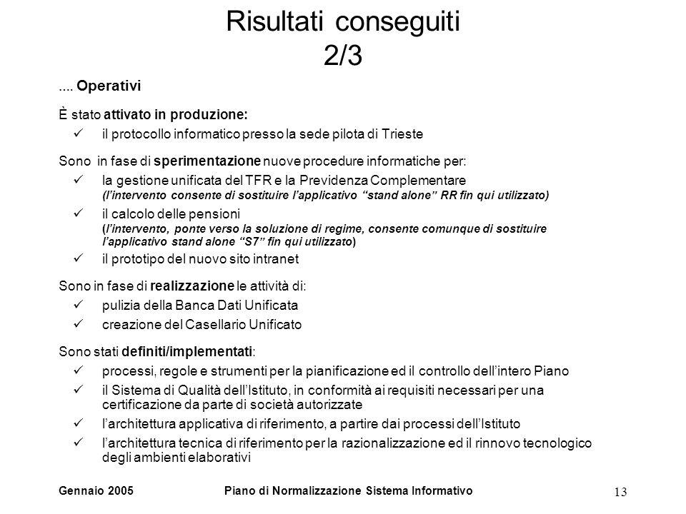 Gennaio 2005Piano di Normalizzazione Sistema Informativo 13 Risultati conseguiti 2/3 …. Operativi È stato attivato in produzione: il protocollo inform