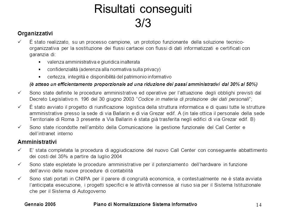 Gennaio 2005Piano di Normalizzazione Sistema Informativo 14 Risultati conseguiti 3/3 Organizzativi È stato realizzato, su un processo campione, un pro