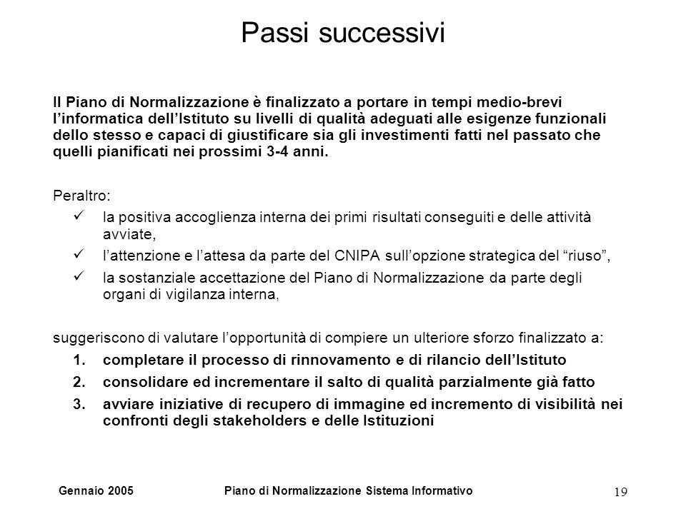 Gennaio 2005Piano di Normalizzazione Sistema Informativo 19 Passi successivi Il Piano di Normalizzazione è finalizzato a portare in tempi medio-brevi