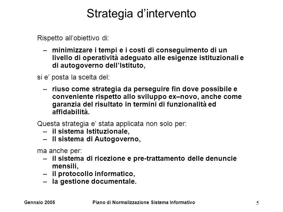 Gennaio 2005Piano di Normalizzazione Sistema Informativo 5 Strategia dintervento Rispetto allobiettivo di: –minimizzare i tempi e i costi di conseguim
