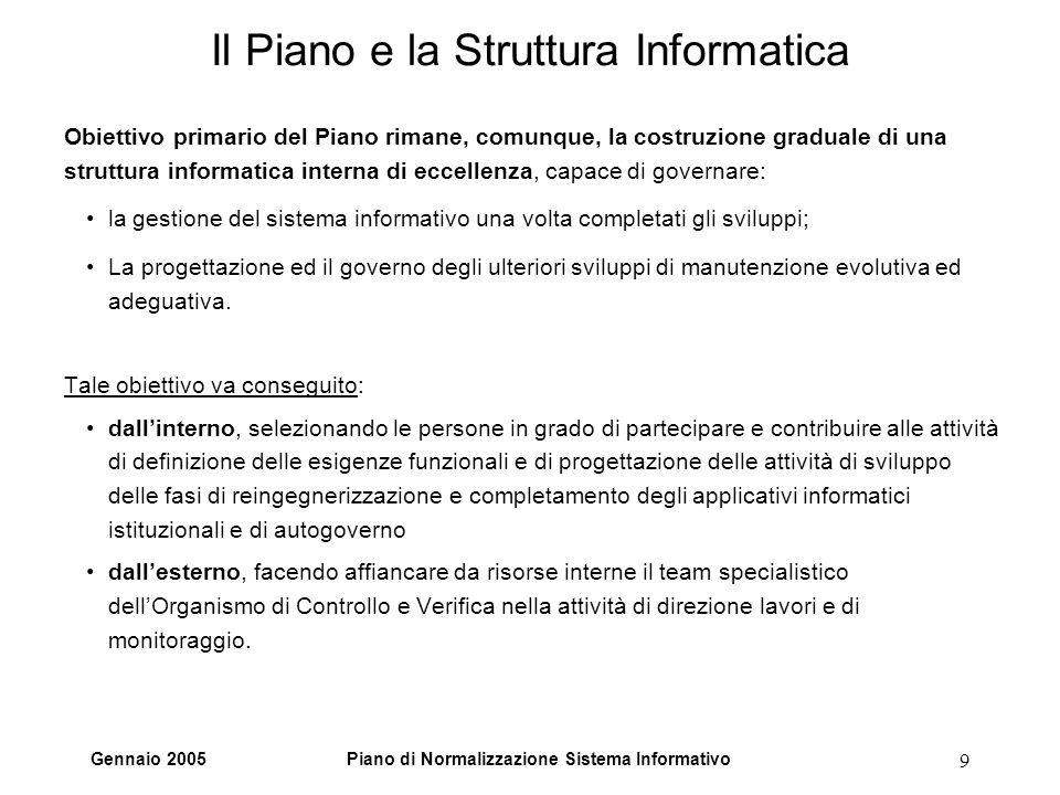 Gennaio 2005Piano di Normalizzazione Sistema Informativo 9 Il Piano e la Struttura Informatica Obiettivo primario del Piano rimane, comunque, la costr