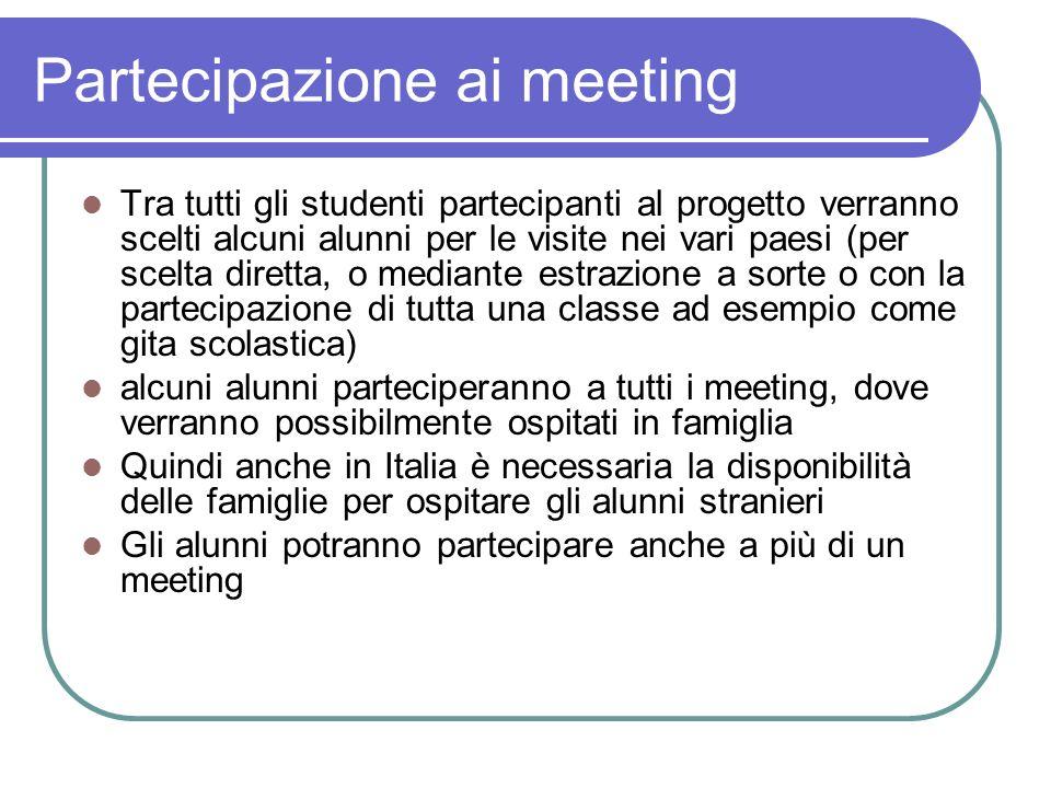 Partecipazione ai meeting Tra tutti gli studenti partecipanti al progetto verranno scelti alcuni alunni per le visite nei vari paesi (per scelta diret