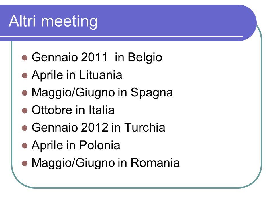Altri meeting Gennaio 2011 in Belgio Aprile in Lituania Maggio/Giugno in Spagna Ottobre in Italia Gennaio 2012 in Turchia Aprile in Polonia Maggio/Giugno in Romania