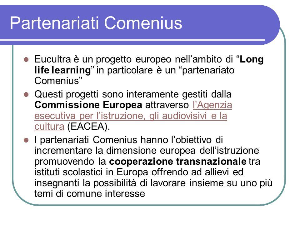 Partenariati Comenius Eucultra è un progetto europeo nellambito di Long life learning in particolare è un partenariato Comenius Questi progetti sono i