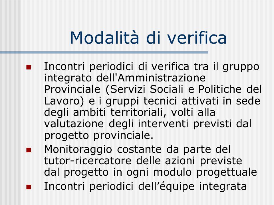 Modalità di verifica Incontri periodici di verifica tra il gruppo integrato dell'Amministrazione Provinciale (Servizi Sociali e Politiche del Lavoro)