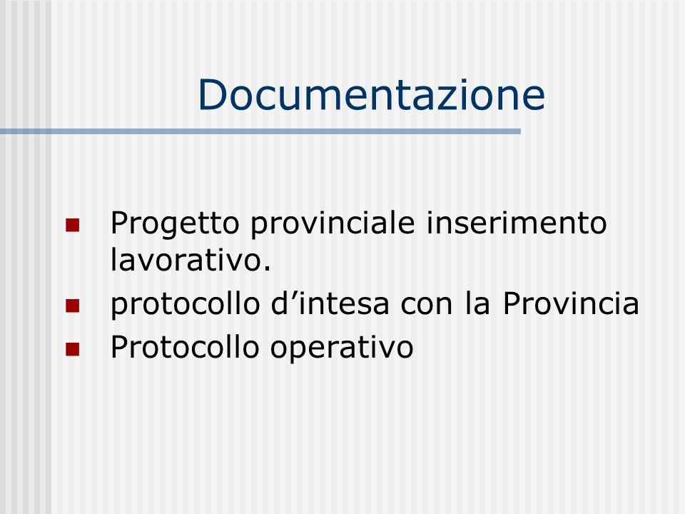 Documentazione Progetto provinciale inserimento lavorativo. protocollo dintesa con la Provincia Protocollo operativo