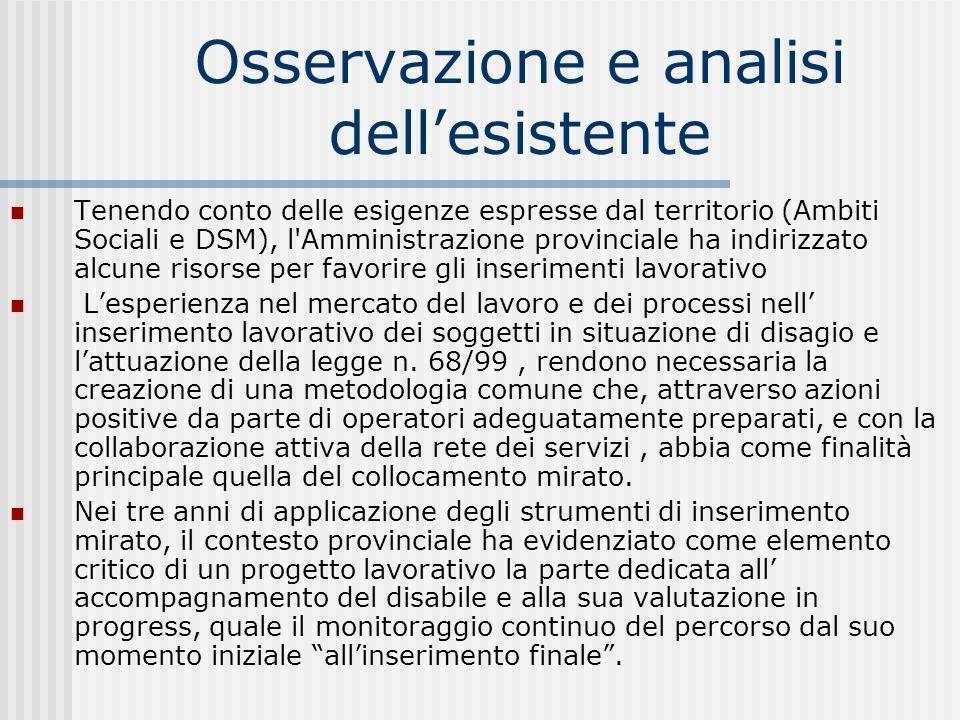 Osservazione e analisi dellesistente Tenendo conto delle esigenze espresse dal territorio (Ambiti Sociali e DSM), l'Amministrazione provinciale ha ind