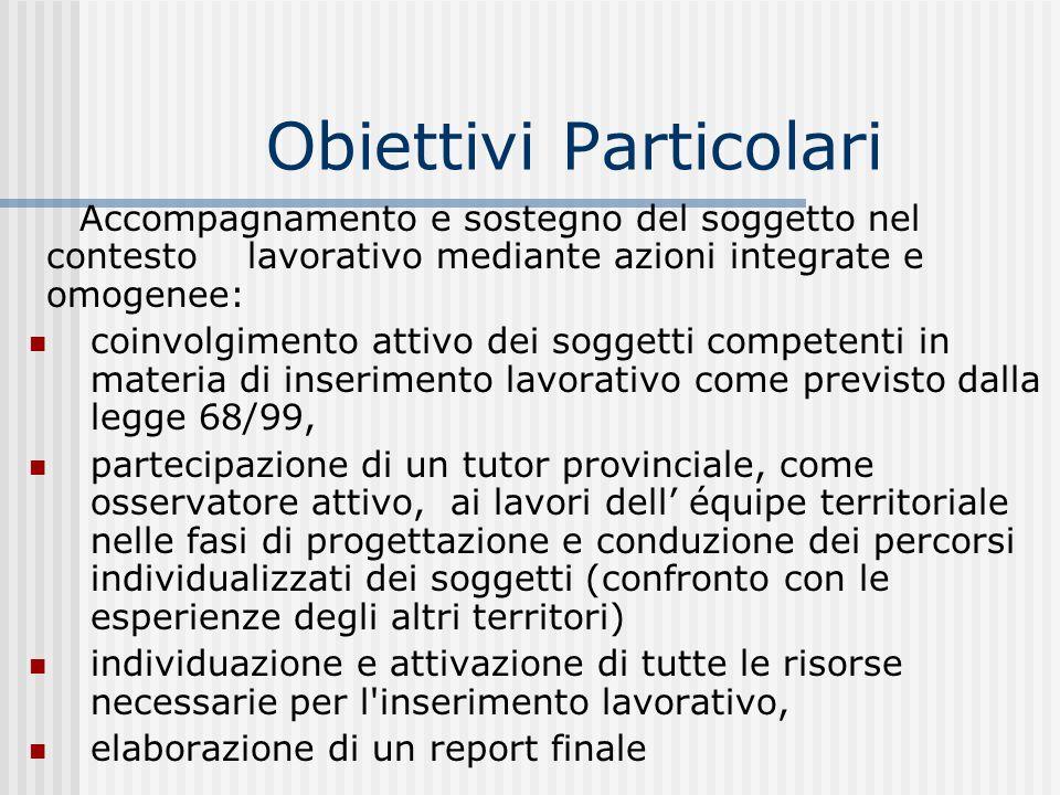 Obiettivi Particolari Accompagnamento e sostegno del soggetto nel contesto lavorativo mediante azioni integrate e omogenee: coinvolgimento attivo dei
