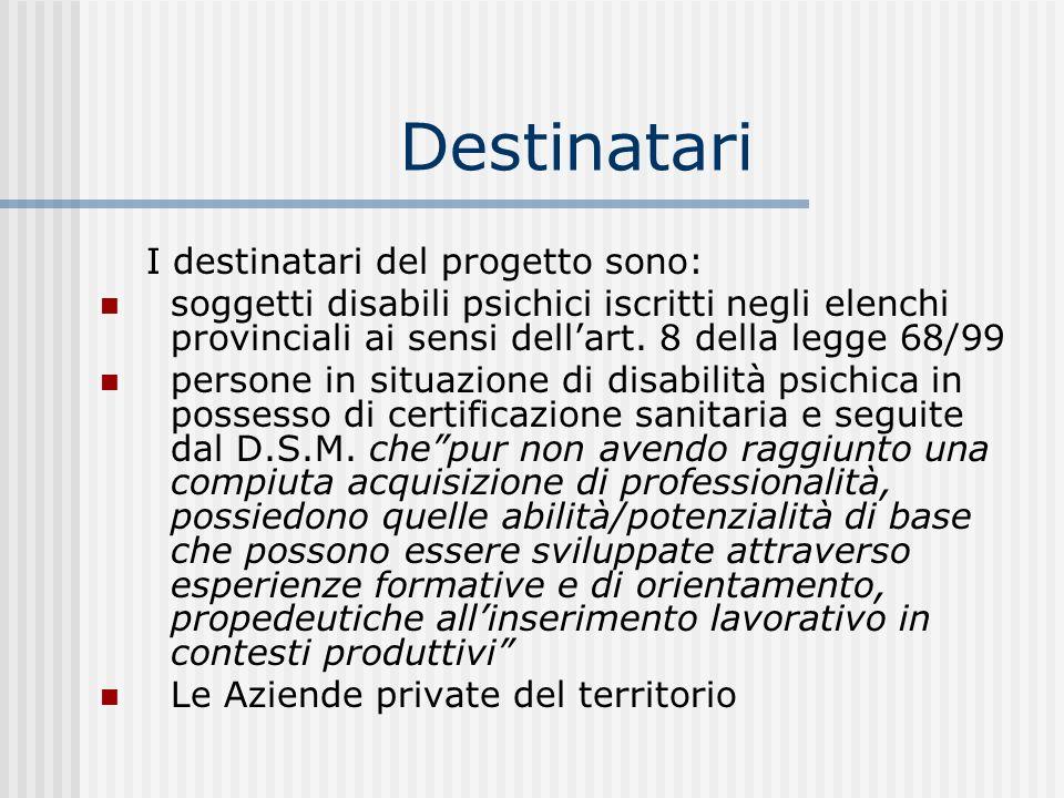 Destinatari I destinatari del progetto sono: soggetti disabili psichici iscritti negli elenchi provinciali ai sensi dellart. 8 della legge 68/99 perso