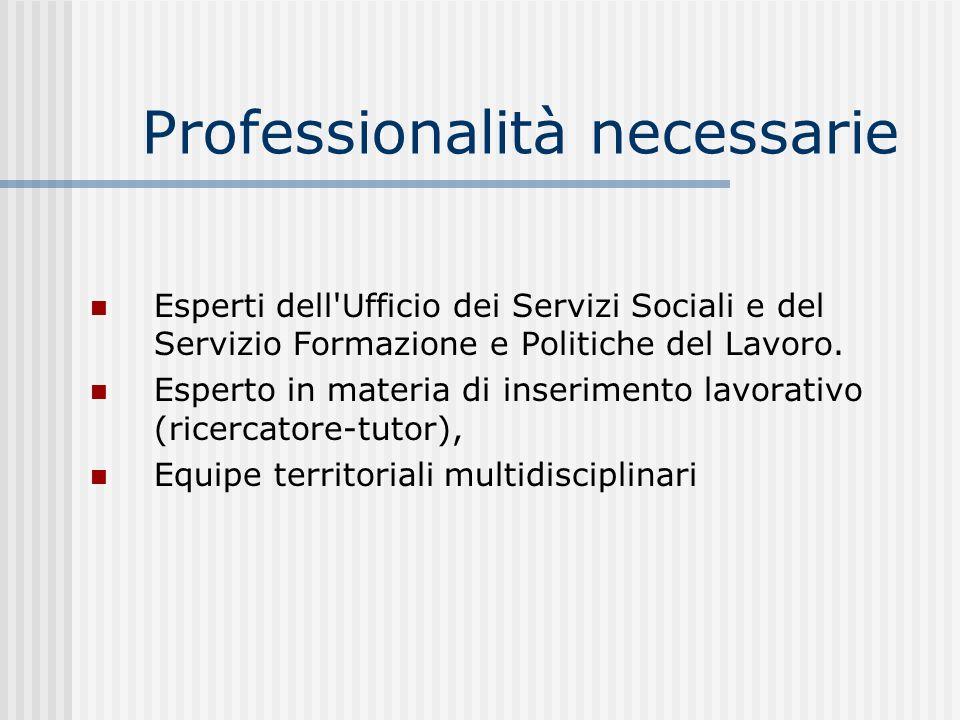 Professionalità necessarie Esperti dell'Ufficio dei Servizi Sociali e del Servizio Formazione e Politiche del Lavoro. Esperto in materia di inseriment