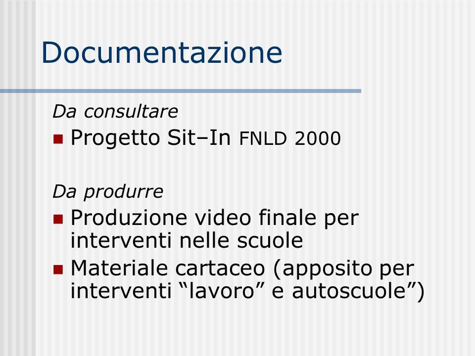Documentazione Da consultare Progetto Sit–In FNLD 2000 Da produrre Produzione video finale per interventi nelle scuole Materiale cartaceo (apposito pe
