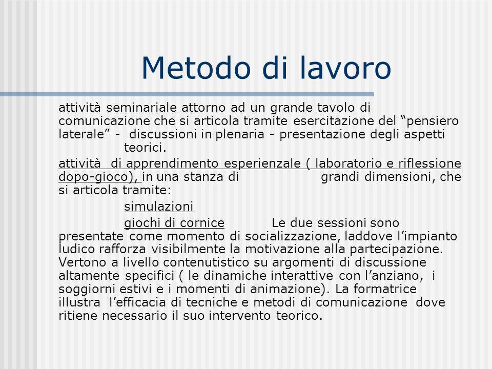 Metodo di lavoro attività seminariale attorno ad un grande tavolo di comunicazione che si articola tramite esercitazione del pensiero laterale - discussioni in plenaria - presentazione degli aspetti teorici.
