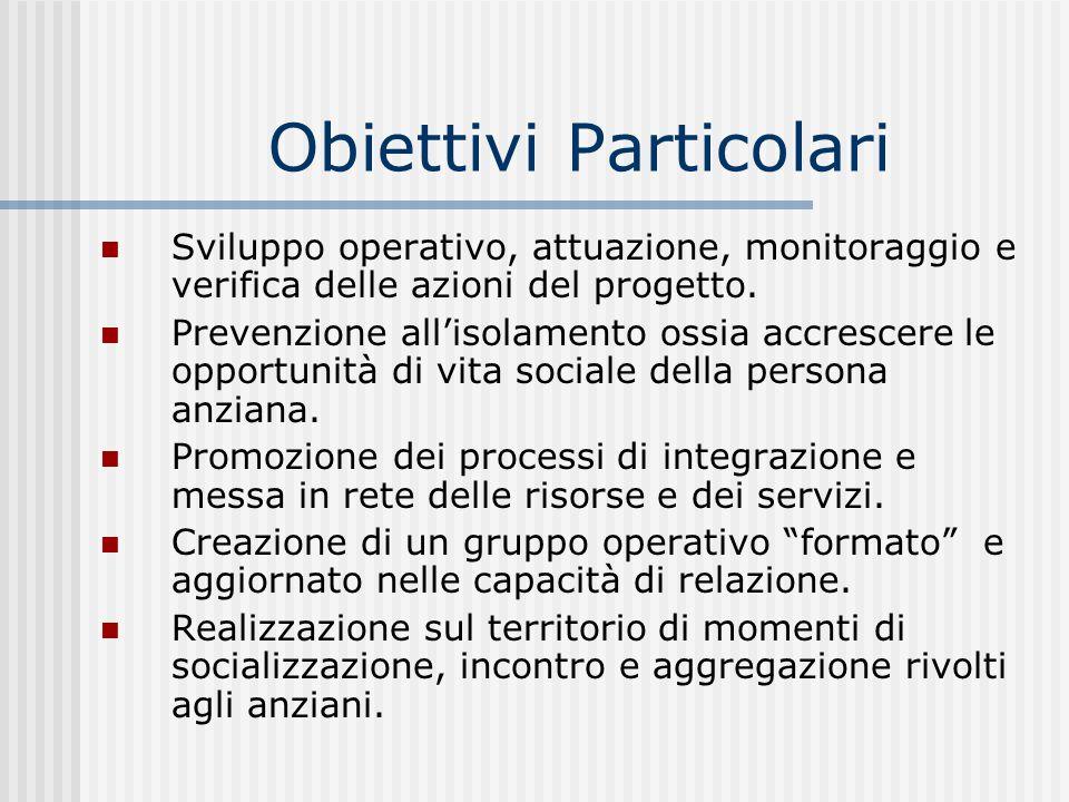 Obiettivi Particolari Sviluppo operativo, attuazione, monitoraggio e verifica delle azioni del progetto.