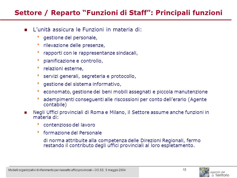 Modelli organizzativi di riferimento per riassetto uffici provinciali – OO.SS. 5 maggio 2004 15 Settore / Reparto Funzioni di Staff: Principali funzio