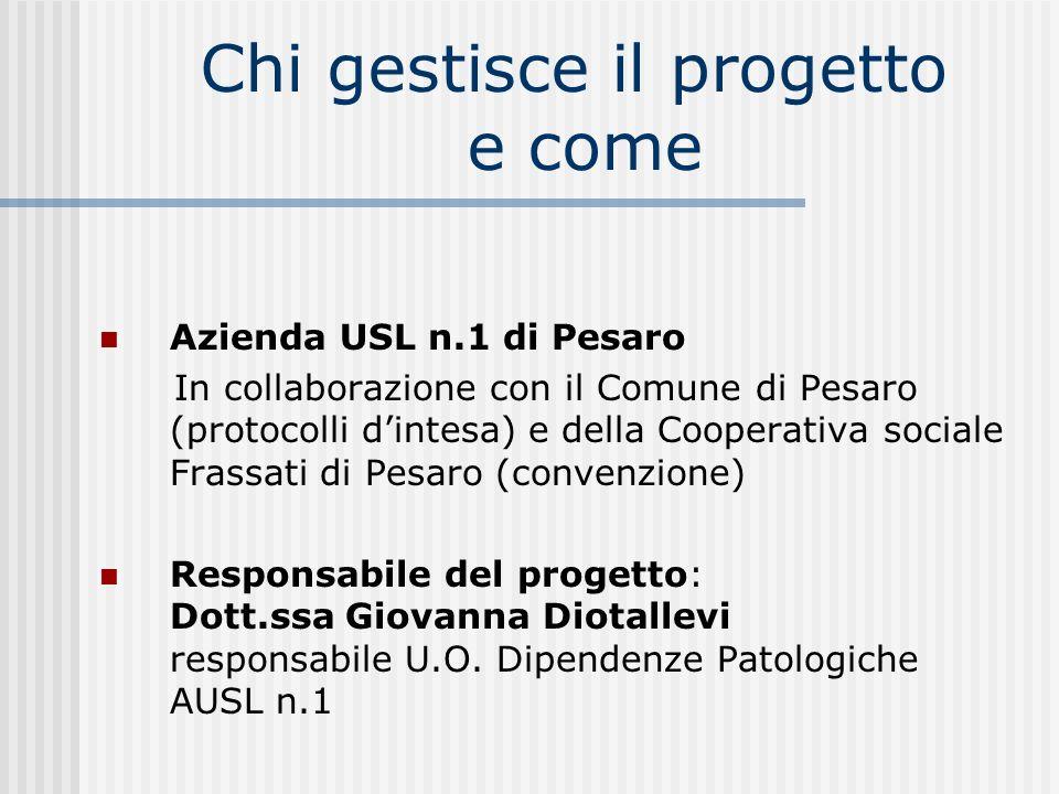 Chi gestisce il progetto e come Azienda USL n.1 di Pesaro In collaborazione con il Comune di Pesaro (protocolli dintesa) e della Cooperativa sociale F