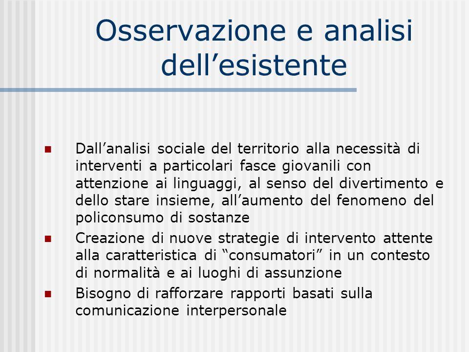 Osservazione e analisi dellesistente Dallanalisi sociale del territorio alla necessità di interventi a particolari fasce giovanili con attenzione ai l