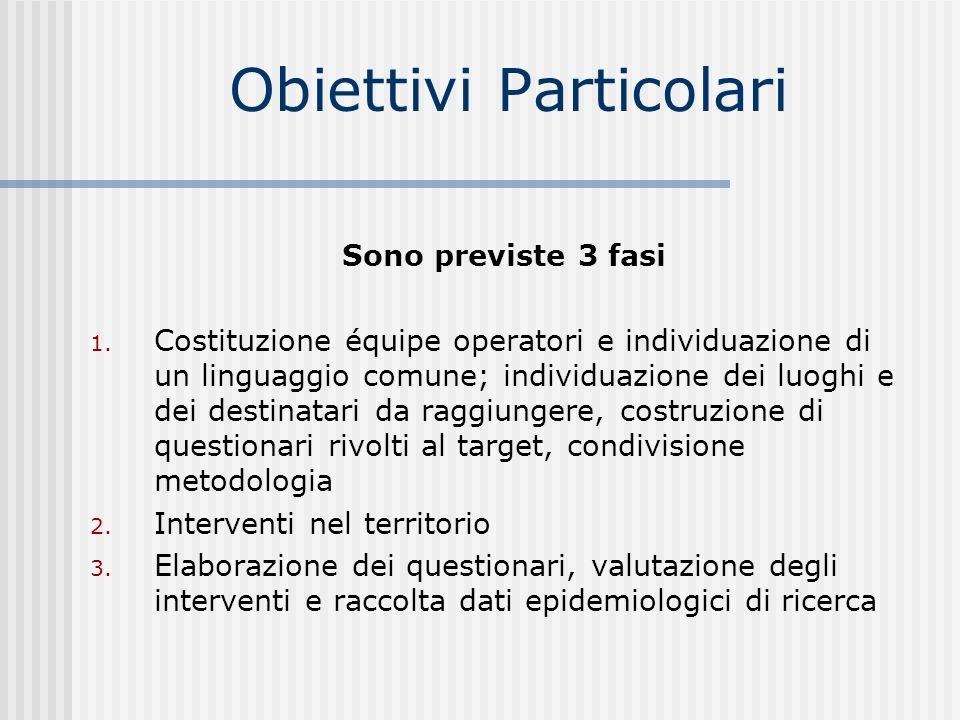Obiettivi Particolari Sono previste 3 fasi 1. Costituzione équipe operatori e individuazione di un linguaggio comune; individuazione dei luoghi e dei