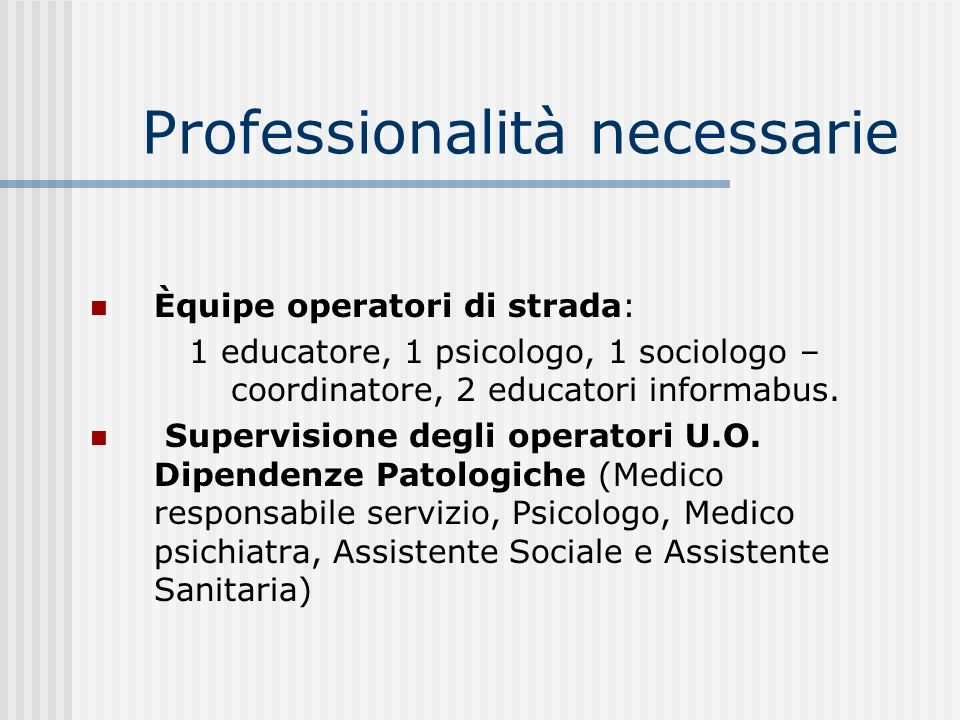 Professionalità necessarie Èquipe operatori di strada: 1 educatore, 1 psicologo, 1 sociologo – coordinatore, 2 educatori informabus. Supervisione degl