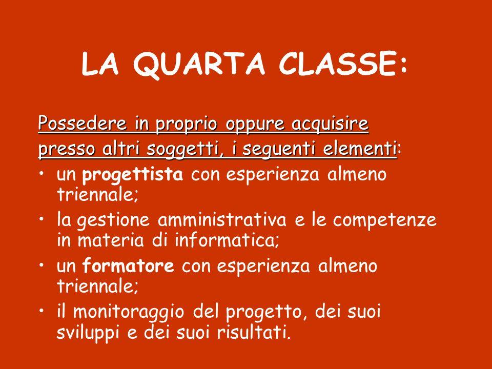 LA QUARTA CLASSE: Possedere in proprio oppure acquisire presso altri soggetti, i seguenti elementi presso altri soggetti, i seguenti elementi: un prog