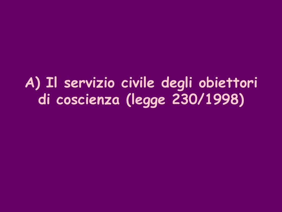 A) Il servizio civile degli obiettori di coscienza (legge 230/1998)
