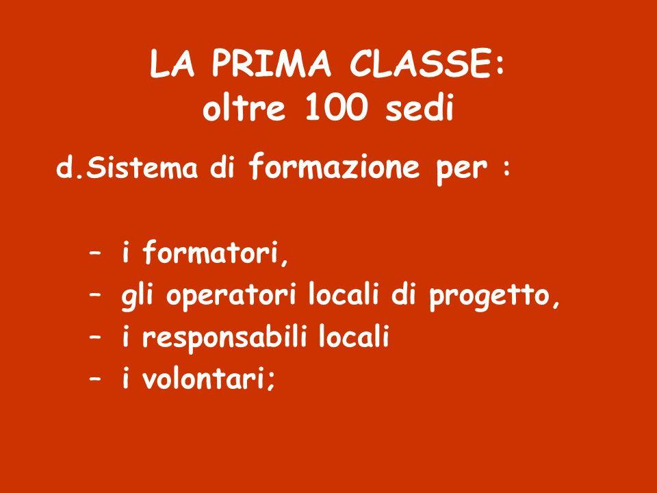 LA PRIMA CLASSE: oltre 100 sedi d.Sistema di formazione per : –i formatori, –gli operatori locali di progetto, –i responsabili locali –i volontari;