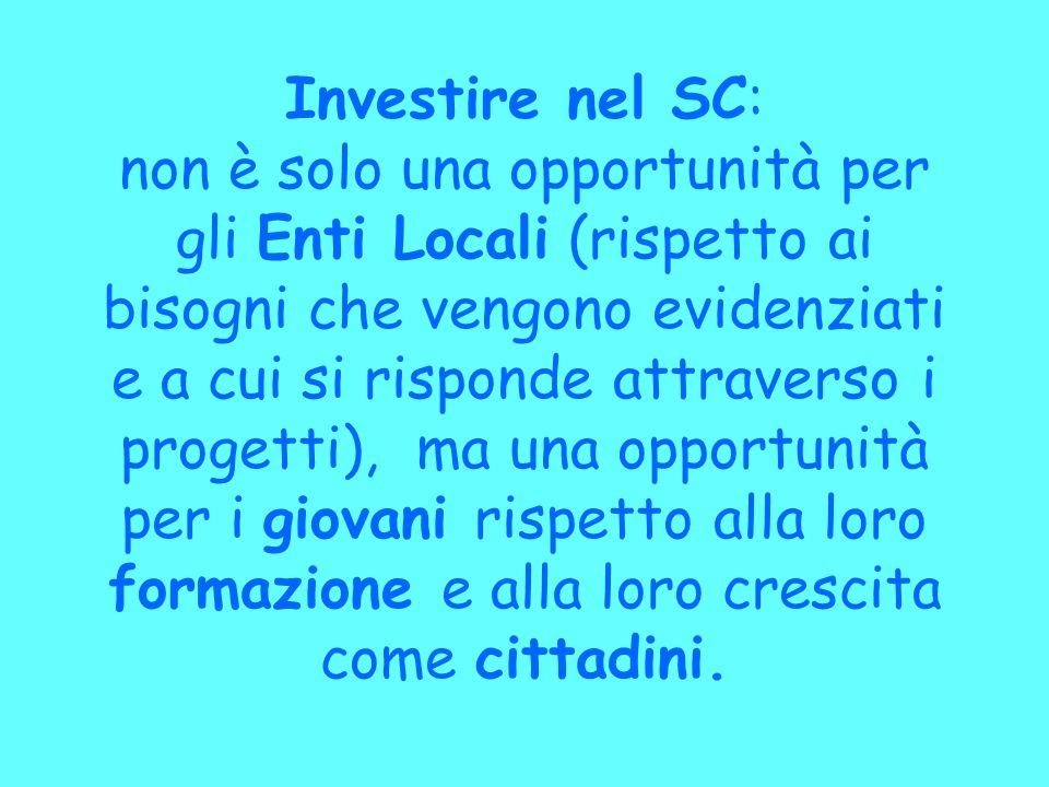 Investire nel SC: non è solo una opportunità per gli Enti Locali (rispetto ai bisogni che vengono evidenziati e a cui si risponde attraverso i progett