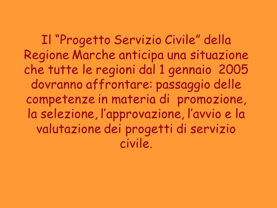 Il Progetto Servizio Civile della Regione Marche anticipa una situazione che tutte le regioni dal 1 gennaio 2005 dovranno affrontare: passaggio delle