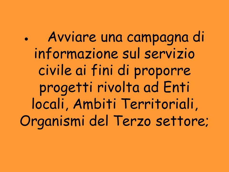 Avviare una campagna di informazione sul servizio civile ai fini di proporre progetti rivolta ad Enti locali, Ambiti Territoriali, Organismi del Terzo