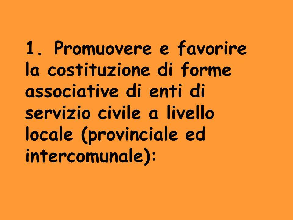 1.Promuovere e favorire la costituzione di forme associative di enti di servizio civile a livello locale (provinciale ed intercomunale):