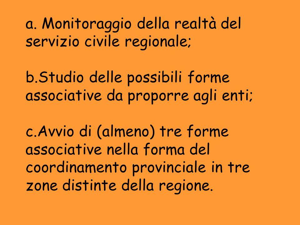 a. Monitoraggio della realtà del servizio civile regionale; b.Studio delle possibili forme associative da proporre agli enti; c.Avvio di (almeno) tre