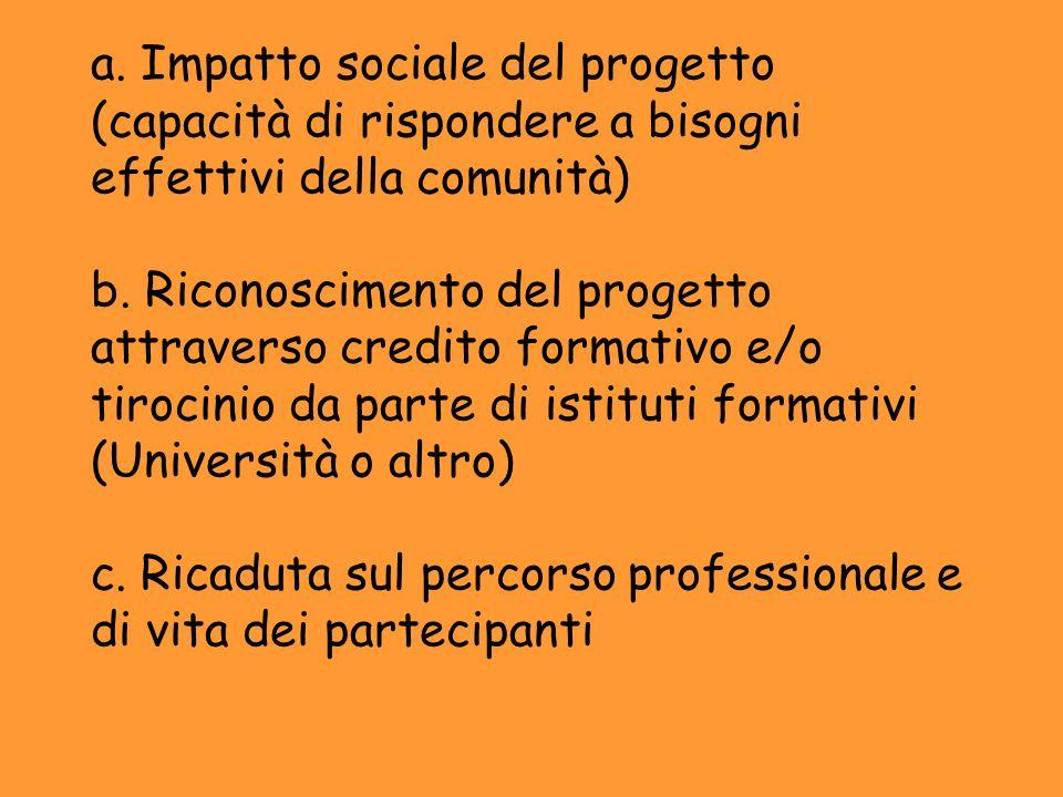 a. Impatto sociale del progetto (capacità di rispondere a bisogni effettivi della comunità) b. Riconoscimento del progetto attraverso credito formativ